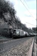 berlin-deutsche-bahn-ag/593534/150-164-2-mit-gemischtem-gueterzug-auf 150 164-2 mit gemischtem Güterzug auf der Geislinger Steige am 07.05.1982 (Diascan).