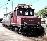 berlin-deutsche-bahn-ag/602066/169-003-1-mit-silberling-nahverkehrszug-in 169 003-1 mit Silberling Nahverkehrszug in Murnau im Juni 1977 (Diascan).